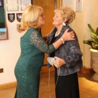 Petal founder and secretary Karen Weaving greets guest Hazel Nicholson
